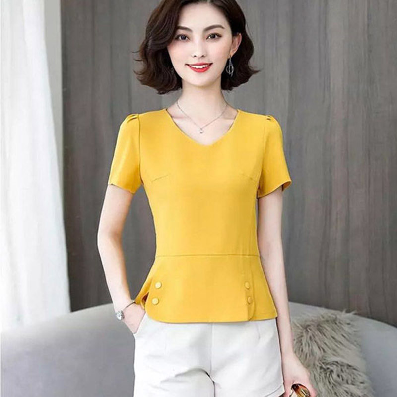 Women Spring Summer Style Chiffon Blouses Shirts Lady Casual Short Sleeve V-Neck Blusas Tops DF2774