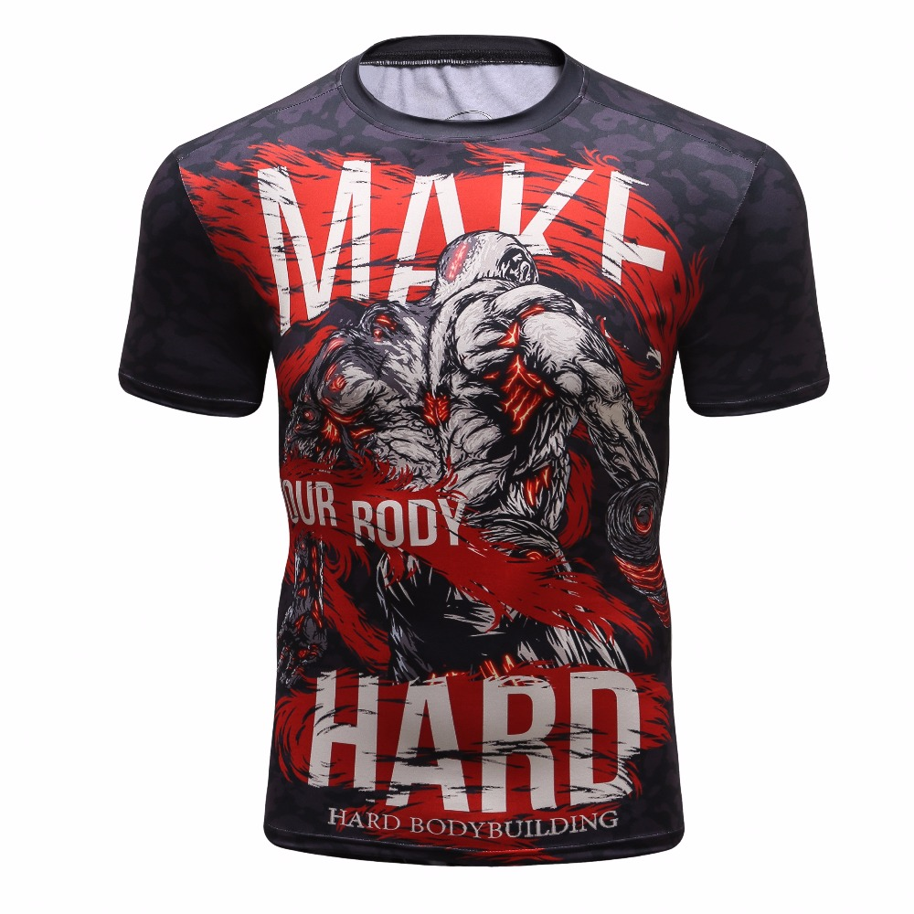 2018 Mens Latest 3D Printing T-Shirt Compression Shirt Short-Sleeve Fitness T-Shirt Red Fight Warrior Muscle Casual Shirt