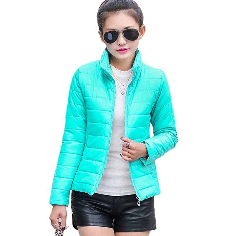 2019 women winter   basic     jacket   ultra light candy color spring coat female short cotton outerwear jaqueta feminina