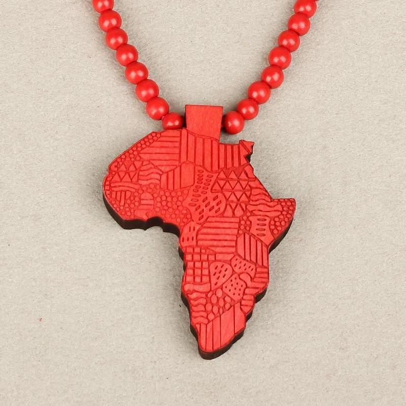 2015 populaire Hot vente nouvellement bois 1 PC chapelet perles afrique carte pendentif collier unisexe pull