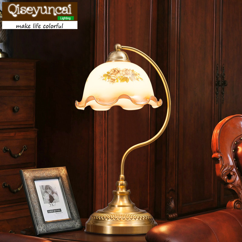 Qiseyuncai 2018 New European retro glass cover retro copper lamp warm pastoral luxury bedroom bedside study lighting ...