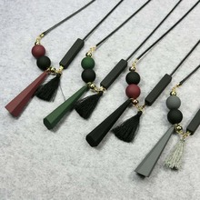 Mixed Colors Geometric Tassel  Necklaces