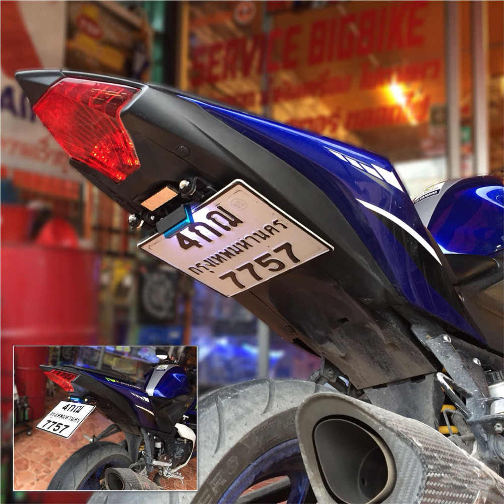 Motorcycle License Number Frame Plate Frame Holder Plate LED Light Bracket  For Yamaha R15 V1-V2 2012-2018 R15 V3 2017-2018