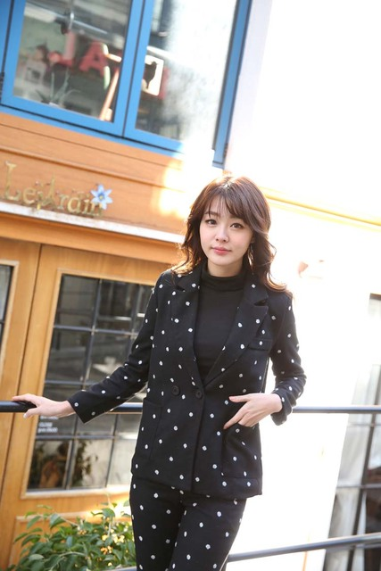 South Korea Official  Wool Suit Female Lovely Polka Dot Western Style pants suit