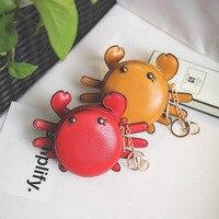 AdiYate Rot Leder Krabben Münze Griff Pack Kawaii Mini Anime Günstige Münzen Geldbeutel Schlüsselhalter Ketten Pochette Taschen Verpackung Schmuck
