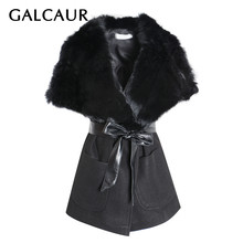 GALCAUR Women's Vest Fur Patchwork V Neck Sleeveless Lace Up Thick Vests For Women Warm Winter Fashion 2019 Streetwear New(China)