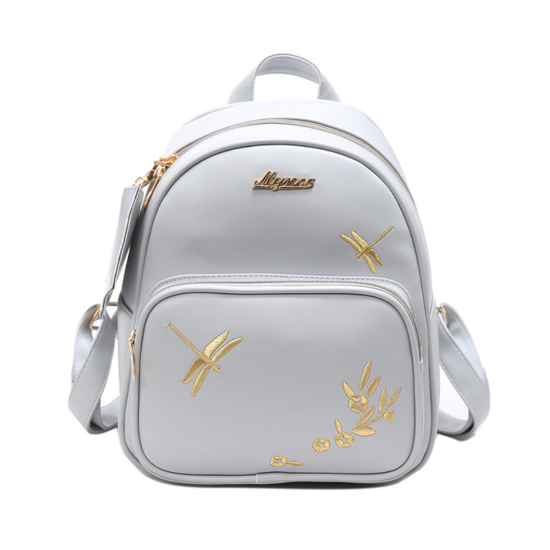 Fresh Pu Leather Embroidery College Backpacks 2017 Fashion Lady New Original School Bag Simple Dragonfly Pattern