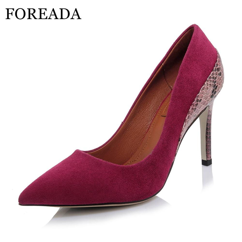 Këpucë FOREADA Gratë Pompa Dizajn Marke Këpucë lëkure të larta Suede Suede Këpucë Grace Partia Këpucë me majë të këmbës Stiletto Këpucë të kuqe të zeza