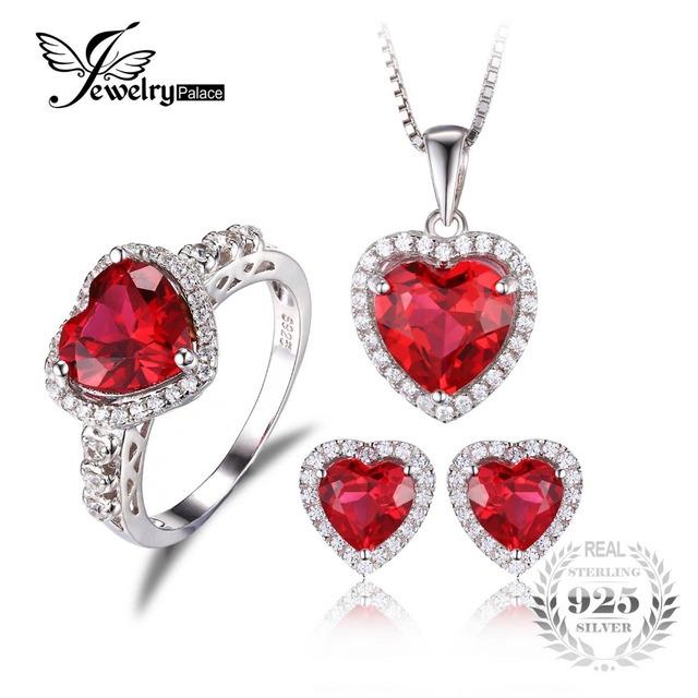 Jewelrypalace corazón de mar amor creado anillo de rubí stud pendientes colgante collar de 925 joyas de plata de la joyería fina