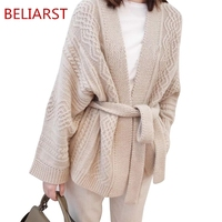 BELIARST Autumn and Winter Cashmere Sweater Women's V Neck Belt Knit Jacket Cardigan Thick Sweater Lazy Loose Outside Large Size