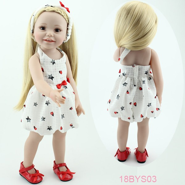 New design 2016 Cute Super Simulation Lifelike american Vinyl 18 inch Baby Doll princess Girl toy gift for children smiling girl lifelike american 18 inches girl doll prices toy for children vinyl princess doll toys girl newest design