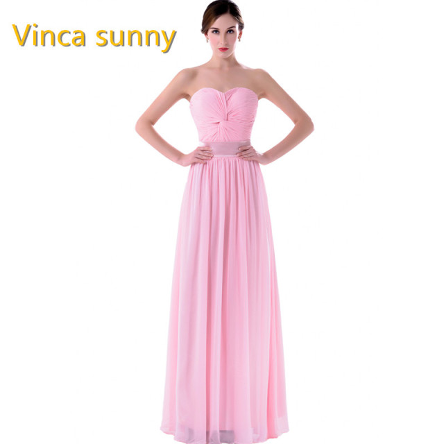 Vinca Sunny Elegant Pink Bridesmaid Dress Long Chiffon Vestido de Festa de  Casamento Beach Dresses 2018 Wedding Formal gown 36823b2a51f0