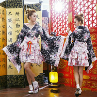 Japanese Kimono Vintage Original Tradition Silk Yukata Dress with Obi Sexy Costumes