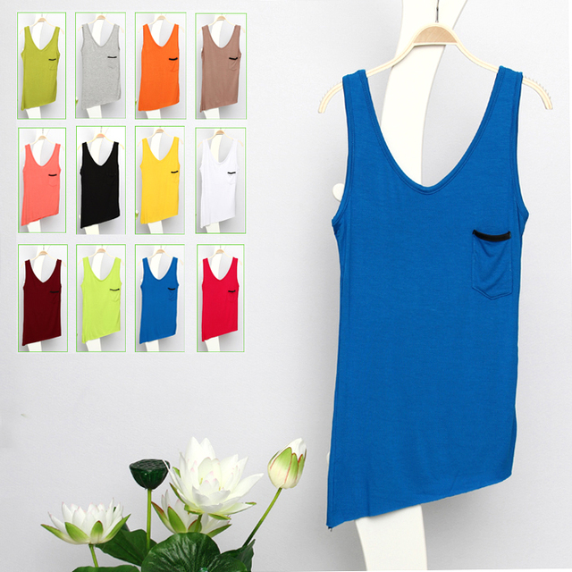 Medium-large women's fashion normic solid color slim modal small vest basic spaghetti strap female