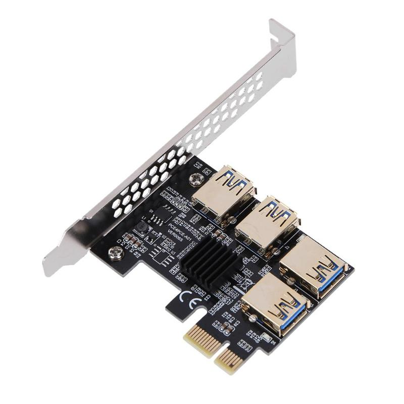 PCIe 1 à 4 PCI express 16x Riser Card PCI-E 1X à Externe 4 PCI-e slot Adaptateur PCIe Port Carte Multiplicateur pour BTC mineur