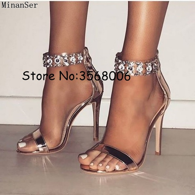 ddbf792de76adc PVC Clear Women Sexy Party Dress High Heels Bling Rhinestone Ankle Wrap Summer  Stiletto Heeled Sandals Shoes Open Toe Woman