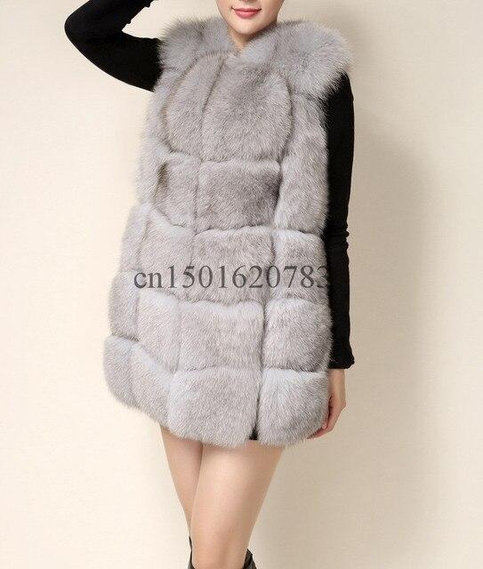 Fashion New Women Warm Long Autumn Winter Fur Vest,Gray Camel 6  New Color 2016 Plaid Natural Fox Fur Fur Vestc201601