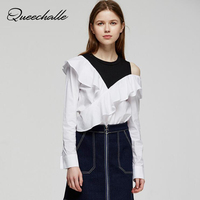 Asymmetrical Ruffles Patchwork Sweet Shirt Female White One Shoulder O Neck Long Sleeve Blouse Shirts S