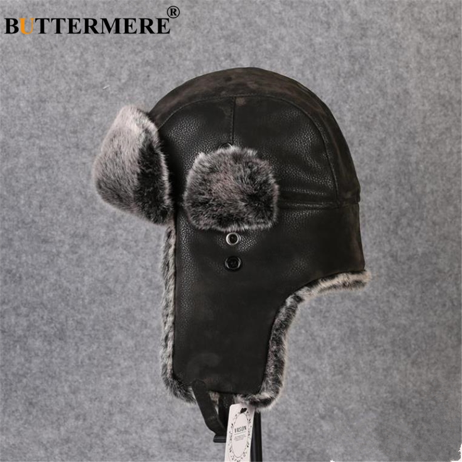 0908dc3e21c46 BUTTERMERE Bomber Hats Male Russian Winter Hat Ushanka Fur Black Leather  Thick Warm Plus Mens Hat With Ear Flaps Resist Snow-in Bomber Hats from  Apparel ...