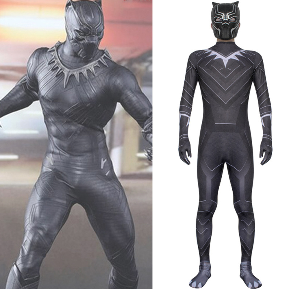 Black Panther Cosplay Costume Jumpsuit  With Masks Adult Child Kids Halloween Superhero Party Plus Size Bodysuit