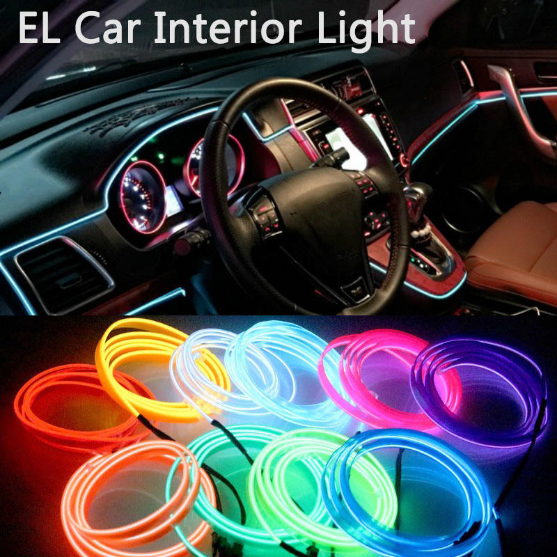 DIY EL Car Light For BMW X1 F48 X3 F25 X4 F26 X5 E70 F15  EL Car Interior Light LED Glowing Electroluminescent EL Wire Car Decor
