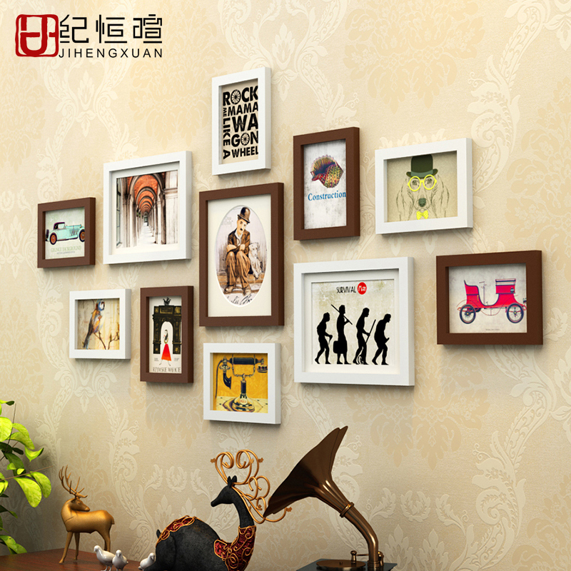 Cheap 11 pieces set wood picture frames set modern art for Modern home decor pieces