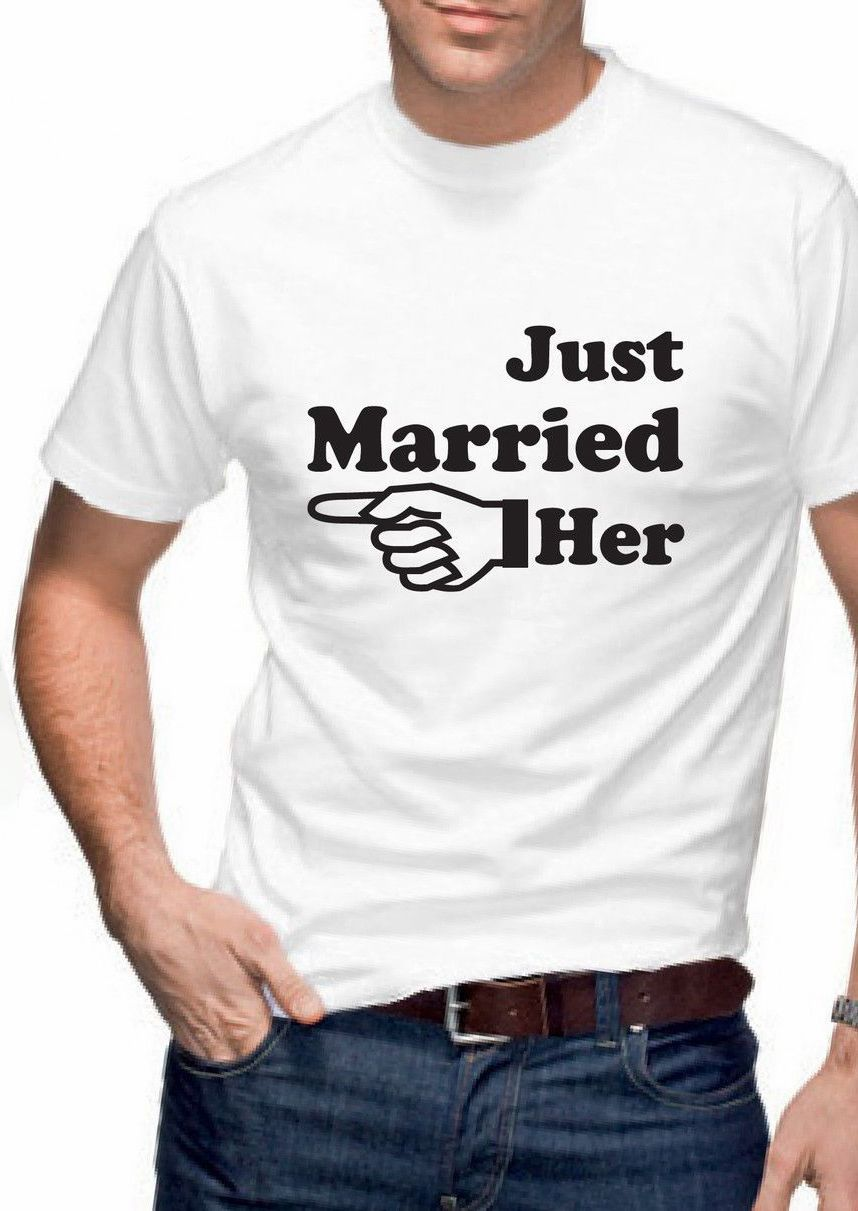 590533115c Just Married Him Her Arrow T-Shirt Set Funny Designer Mens Womens Wedding  Tshirt Matching Couples Tees Shirts XS-3XL