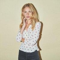 2019 New Women Cherry Print Slim Fit Shirt V Neck Sweet Blouse Top