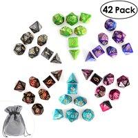 PBPBOX 42 шт. многогранные игральные кости для подземелья и дракона кубик для настольной игры с номером для подземелий и драконов азартные игры ...