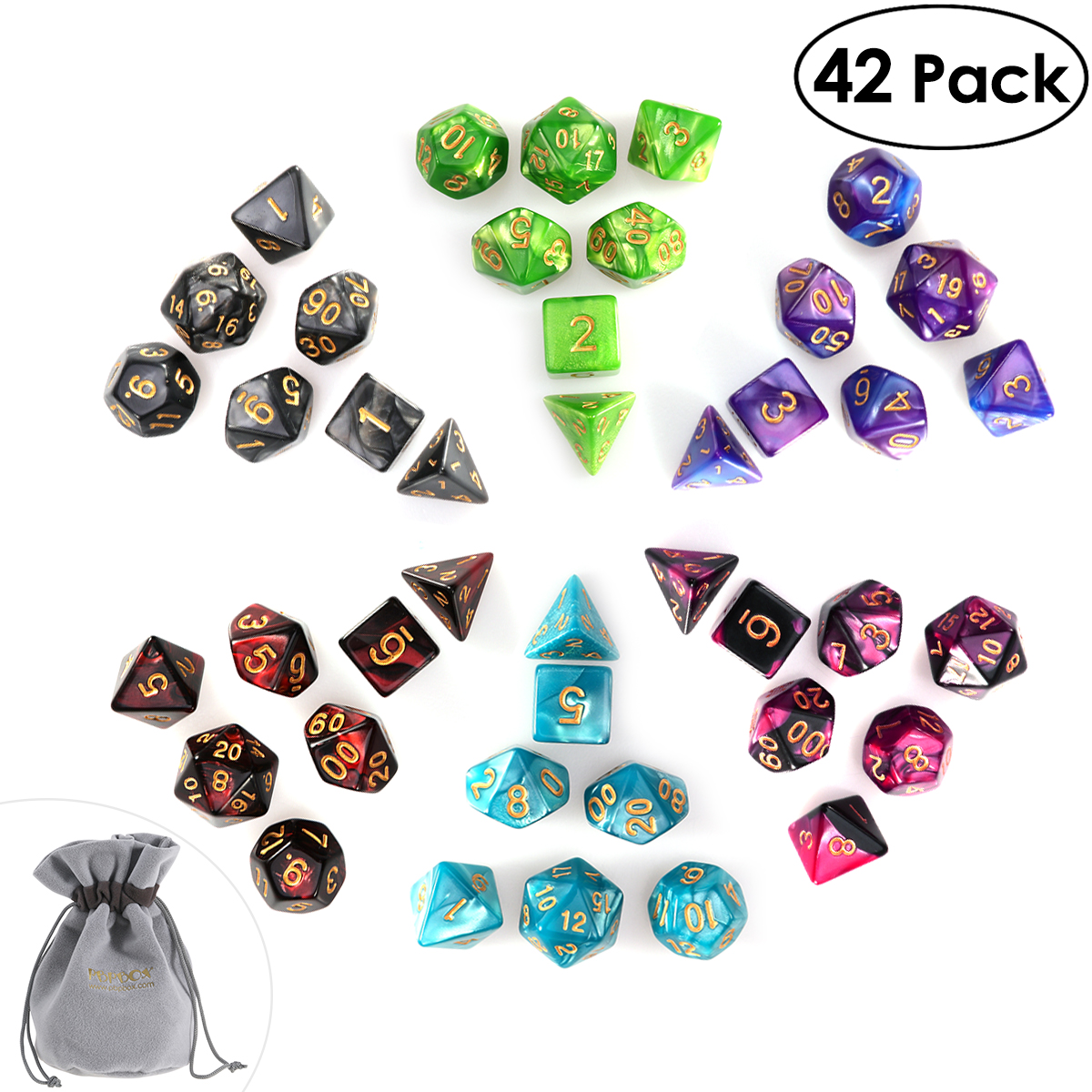 PBPBOX 42pcs Polyhedral Dice for Dungeons and Dragon Board Game Dice with  Number for Dungeons & Dragons Gambling Dice Set