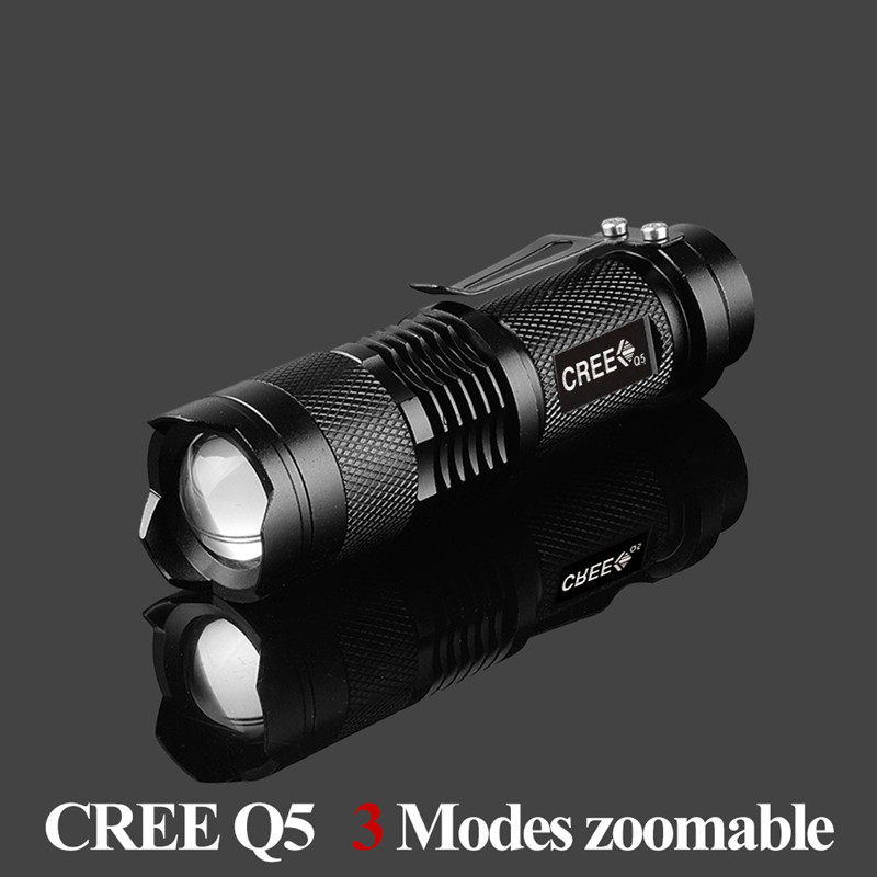 1pcs Portable Lighting cree q5 led flashlight 7W high power mini zoomable 3 modes waterproof glare torch 14500 /AA bicycle
