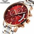 Guanqin mens relojes de primeras marcas de lujo del relogio masculino relojes deporte de los hombres de acero completo reloj de cuarzo de moda reloj luminoso