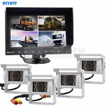 DIYKIT 9 Inch Split Quad Display Rear View Monitor Car Monitor + 4 x CCD IR Night Vision Rear View Car Camera for Car Truck Bus