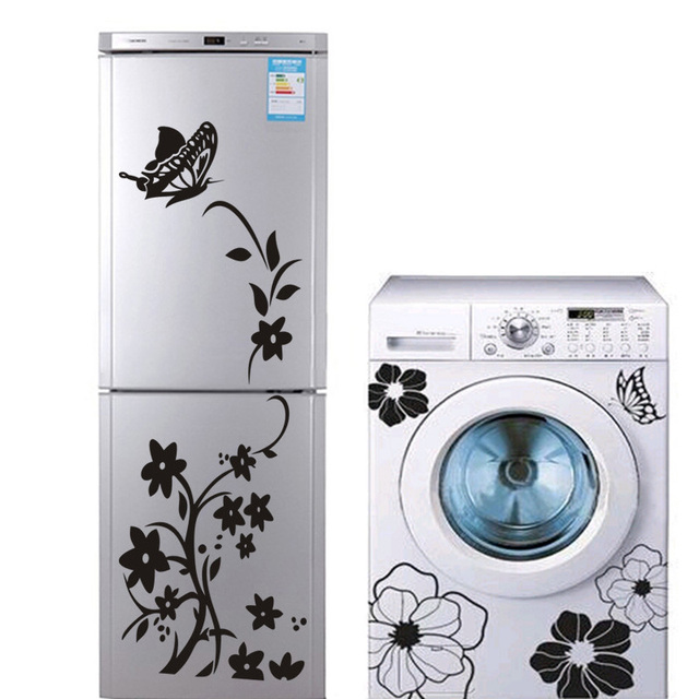 2PCS Creative High Quality Refrigerator Washing Machine Butterfly Sticker Bathroom Decorate Your Home Wall Sticker Wallpaper