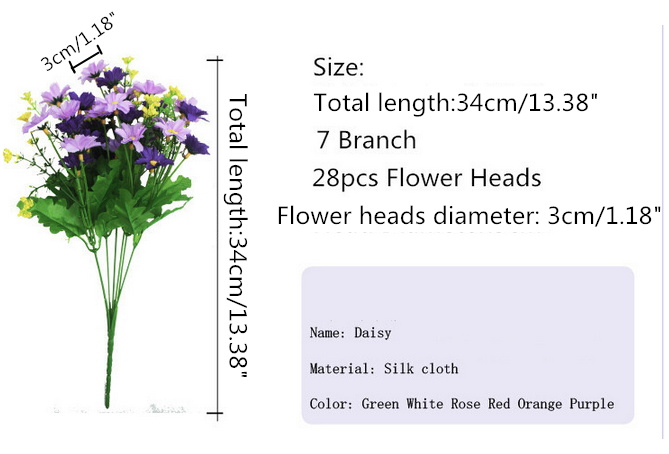 Cute Silk Daisy Artificial Flower With One Bouquet 7 Branch 28 Heads For Wedding Decoration 6