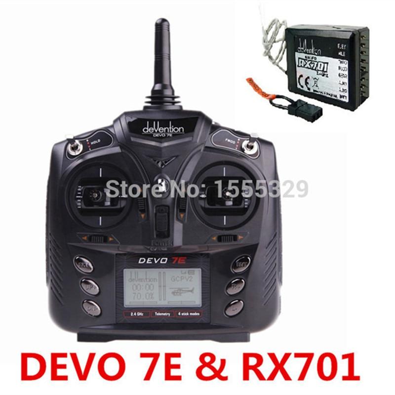 Walkera DEVO 7E 2.4G 7CH DSSS Radio Zender + RX601 of RX701Receiver voor RC Helikopters, vliegtuigen, meerassige rotors-in Onderdelen & accessoires van Speelgoed & Hobbies op  Groep 1