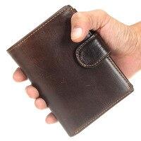 Vintage Men Genuine Leather Wallet Hasp Men Wallets Leather Male Purse Clutch Male Card Holder Men