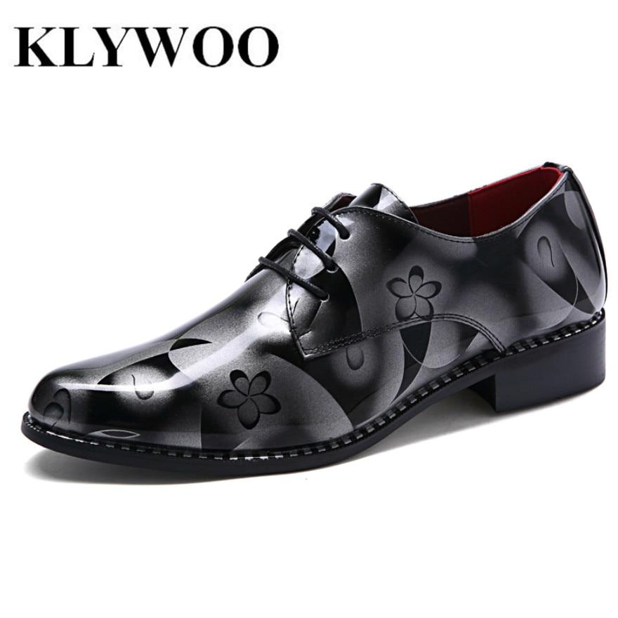 KLYWOO New Arrival Leather Men Dress Shoes Classic Floral Men Oxfords Business Fashion Casual Men Oxfords Gentleman Shoes Brand