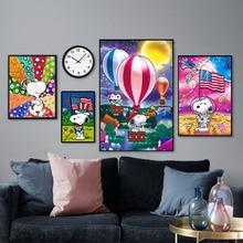 Full Square 5d Diy Diamond Painting Snoopy Cartoon Dog Diamant Balloon Dimond Banner Cross Stitches Home Decor