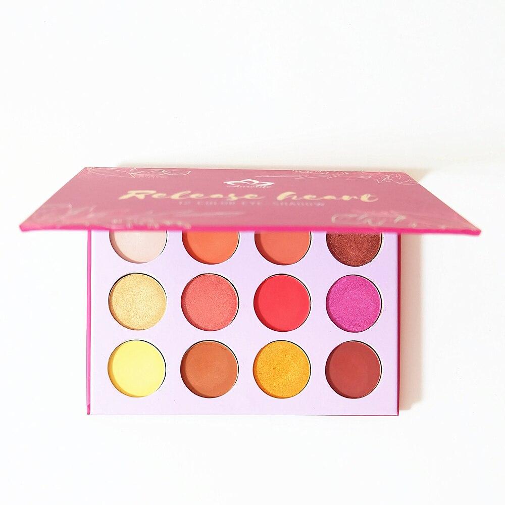 AURELIFE Maquiagem Glitter Eyeshadow Pallete Shimmer & Matte Eye shadow Red Orange Yarrow Pink Makeup Pallete Cosmetics цены