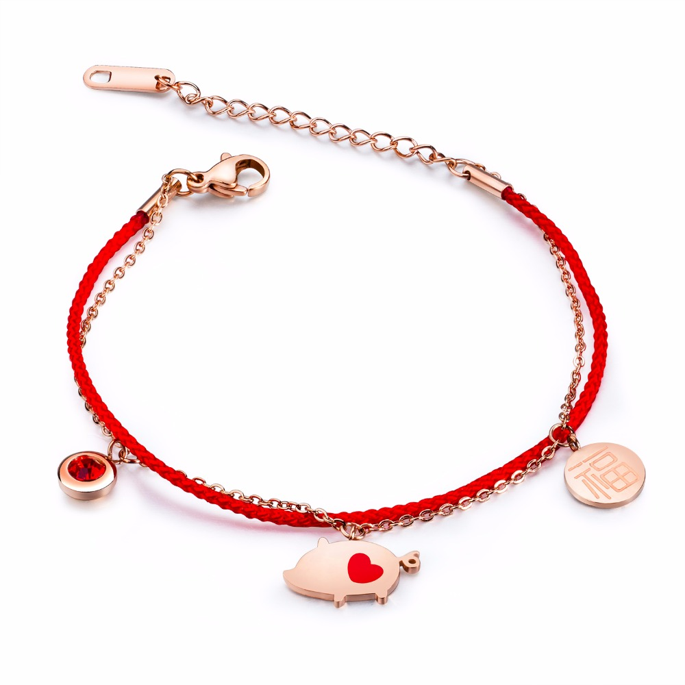 2019 pig red rope bracelet titanium steel small gold pig hand rope jewelry 3-HS012