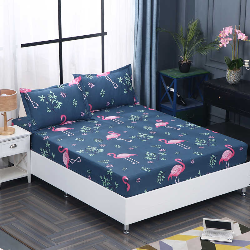 1pc 100%Polyester Fitted Sheet Mattress Cover Four Corners With Elastic Band Bed Sheets 90cm*200cm 160cm*200cm