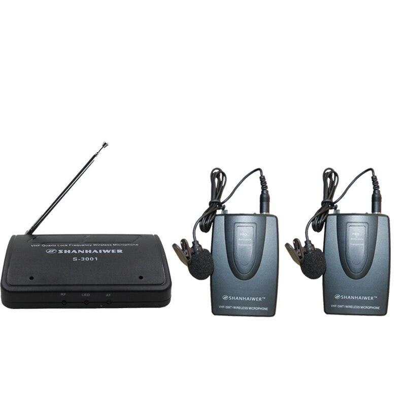 SHANHAIWER S-3007 Mini pince à cravate ou tête sur micro Microphone récepteur sans fil et microphone sans fil Transmmiter