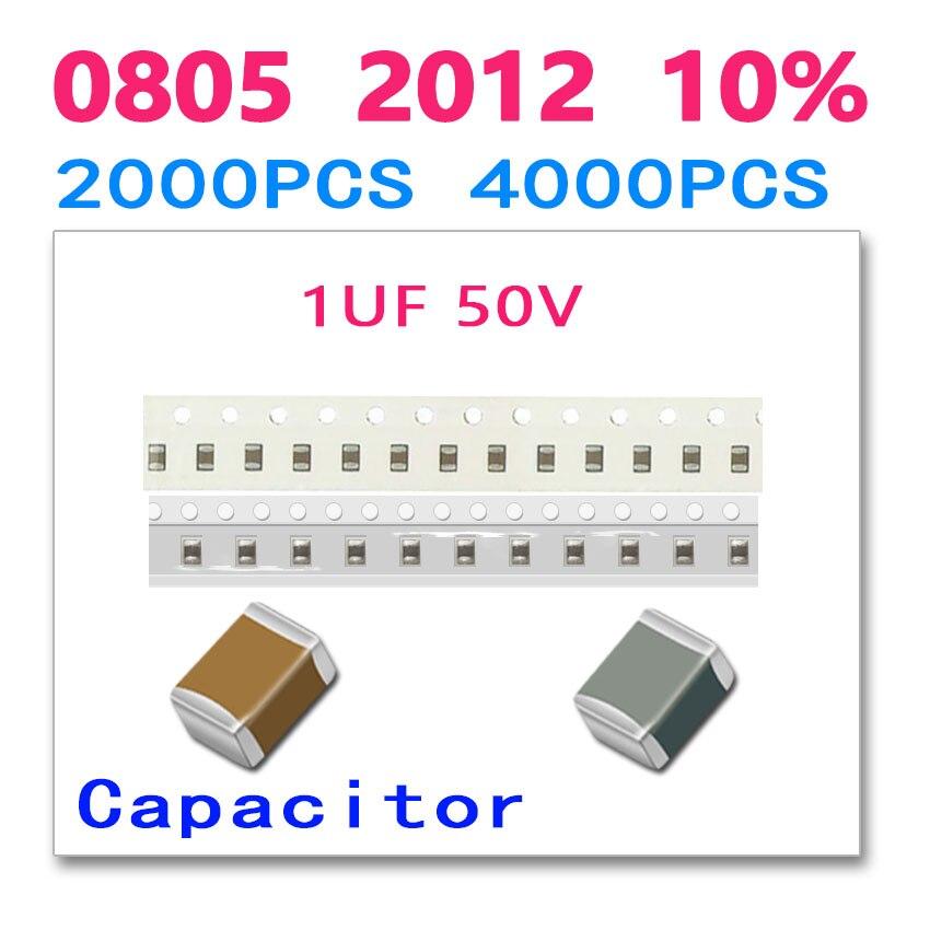 1UF 0805 2012 2000PCS 4000PCS 50V 105 High quality SMD ceramic chip Paper packaging and plastic packaging cl21a106koqnnne 0805 106k x5r 16v smd 10uf 2000pcs