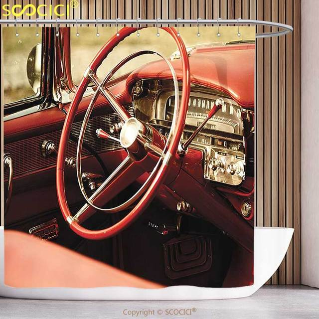 Polyester Shower Curtain Cars Decor Interior Of An Antique Classic Aged Car With Exquisite Control Board Details Retro Picture