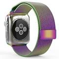 Для Apple Watch Band iwatch ремешок Из Нержавеющей стали Ranbow Красочный Миланской Сетки Петли Ремень Ремешок Для Часов Классический 42 мм 38 мм