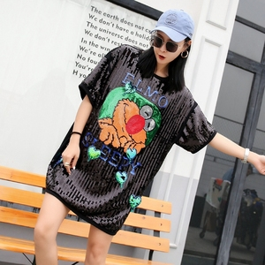 2019 fashion The New Loose black color Cartoon Sequin T shirt free shipping T-Shirts    -