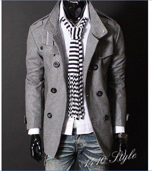 Mens Double PEA Wool Half Trench Coat Trench Coat Jacket Gray