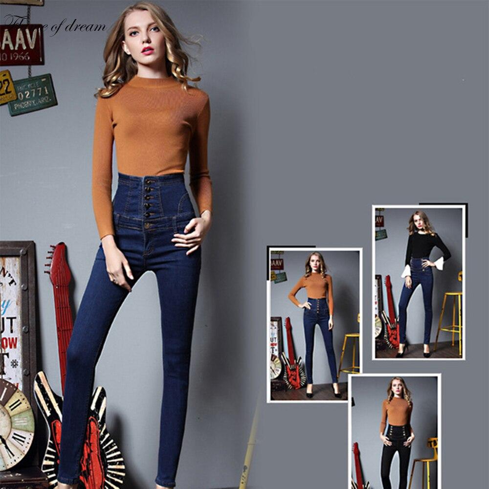 Women's jeans Plus Size Pants 2017 Spring High Waist Jeans Female Slim Pencil Pants Denim Trousers Warm Women Jeans women s jeans plus size pants 2017 spring high waist jeans female slim pencil pants denim trousers warm women jeans