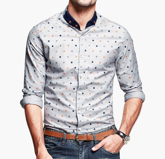 manches Mandarin nouveaux à col hommes longues 2015 chemise hommes KIqq4g